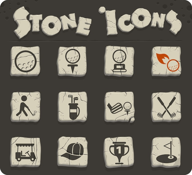 Golf vector icons for web and user interface design
