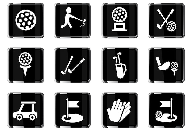 Golf web icons for user interface design