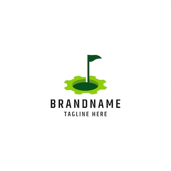 Golf with gear logo design template premium vector