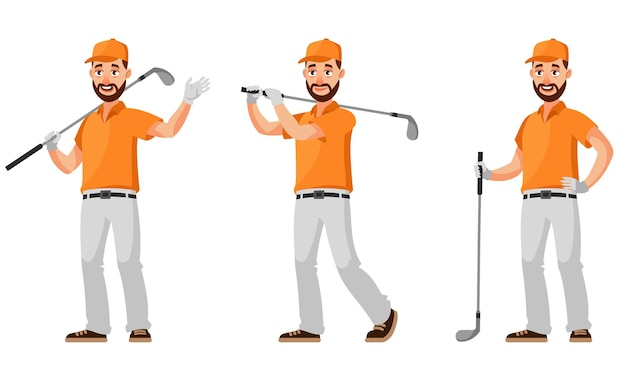 Golfer in different poses illustration