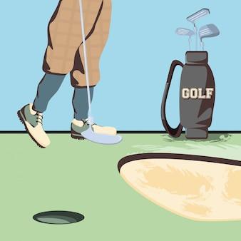 Golfer feet on golf course