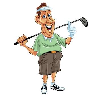 Golfer golf player man cartoon character design vector illustration