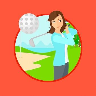 Golfer hitting the ball.