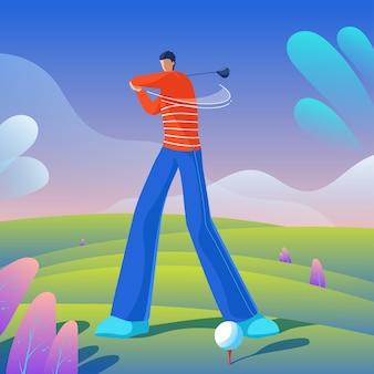 ゴルファーがボールを打つ