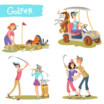 Golfers funny cartoon characters vector set