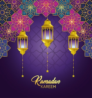 Gometric flowers with lamps hanging to ramadan kareem