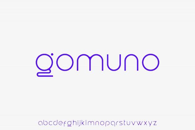 고무 노. 우아한 미래 소문자 글꼴 현대적이고 세련된 알파벳