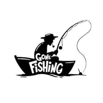 Gone fishing inllustratin. alone fisher with spinning rod in boat