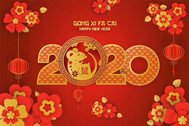 Gong xi fa cai 2020 rat year greeting card