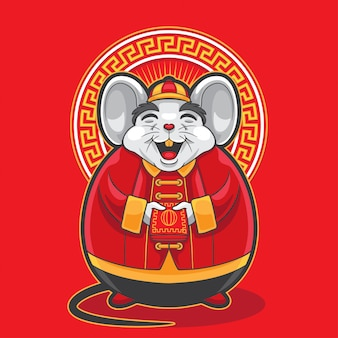 Gong xi fa cai big fat mouse holding red envelope