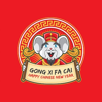 Gong xi fa cai old mouse holding greeting sign