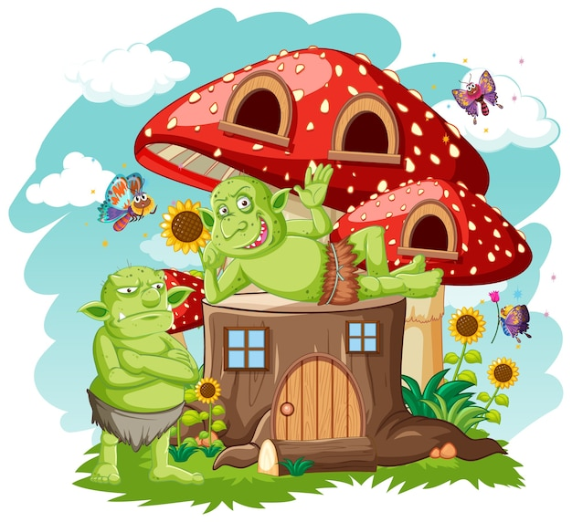 Gooblins or trolls with stump and mushroom house cartoon style on white