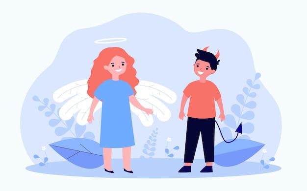 良いと悪い子供フラットベクトルイラスト。天使と悪魔をイメージした、角と尻尾のある小さな男の子と、翼と光輪のある女の子。コントラスト、行動、性格、ハロウィーン、善と悪の概念