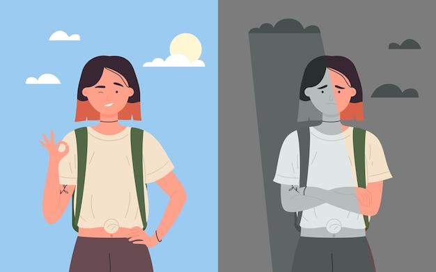女子学生の良い気分と悪い気分幸せなポジティブな女性キャラクター不幸な悲しい女性