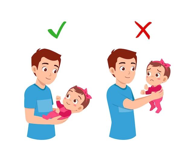 Хороший и плохой способ для отца держать ребенка на руках
