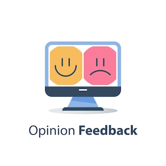 Good or bad emotion customer on monitor