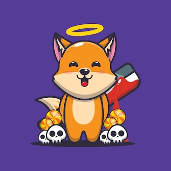 Good or bad fox holding bloody machete cute halloween cartoon illustration