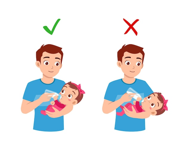 Good and bad way for father to feed baby