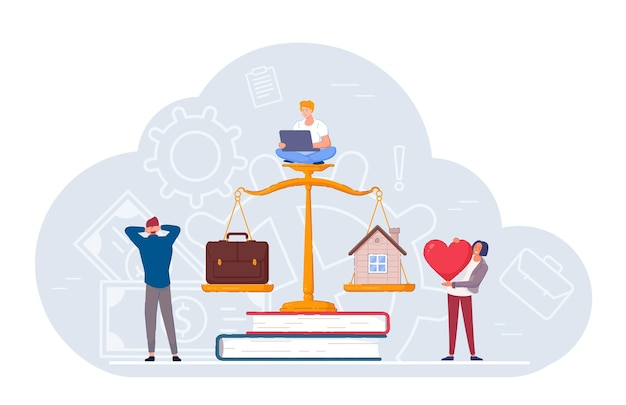 가정 생활과 사업 우선 순위 사이의 균형 척도. 비즈니스 사람들과 프리랜서 작업자는 천칭 자리 벡터 일러스트레이션에서 사랑과 가족을 직업 및 경력 가중치와 비교합니다.