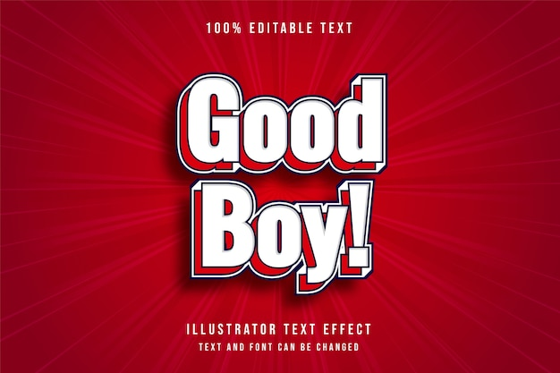 Good boy, 3d editable text effect modern white red text style