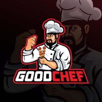 Хороший повар талисман логотип вектор