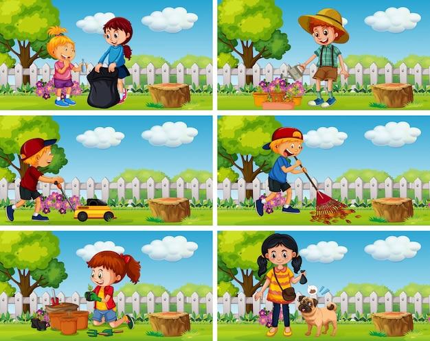 Good children doing housework in garden