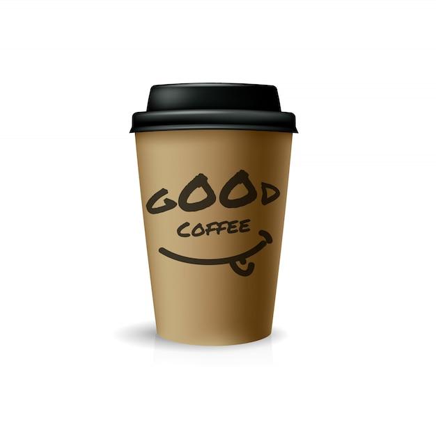 Хороший кофе на вынос. коричневый бумажный стаканчик с черной крышкой