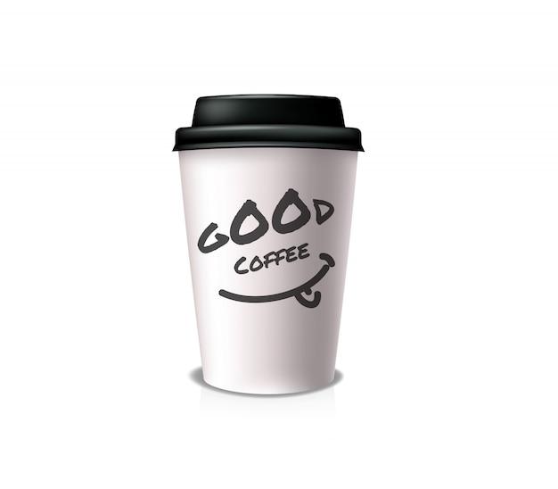 Хороший кофе на вынос. белый бумажный стаканчик с черной крышкой и подстаканником