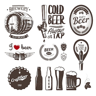 Good craft beer brewery labels, emblems and design elements. vintage set