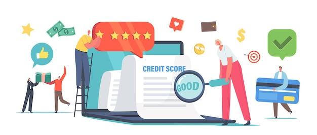 良いクレジットスコアローン承認の概念。債務、住宅ローン、および支払いカードに対する個人の信用力またはリスク。ドキュメント付きの巨大なラップトップの小さな文字。漫画の人々のベクトル図