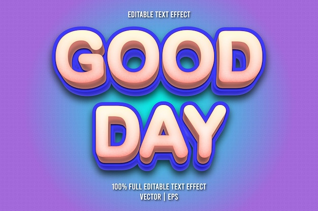 Добрый день редактируемый текстовый эффект мультяшном стиле
