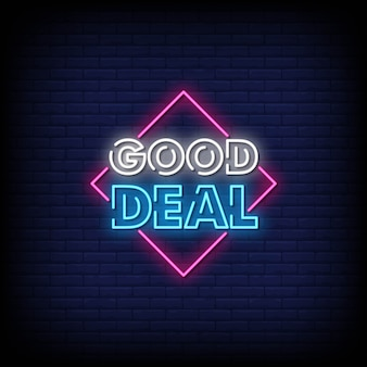 Good deal neon signs style text