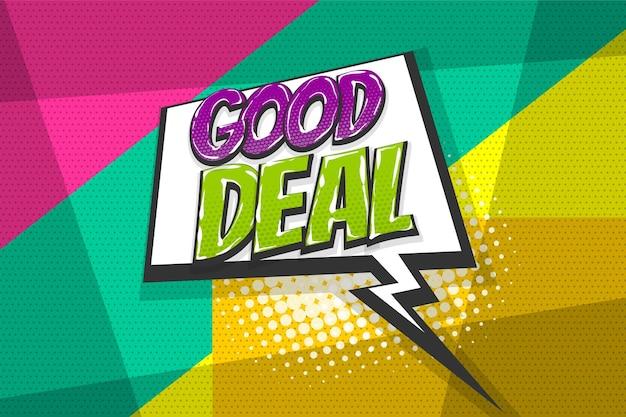 Хорошая распродажа, взрыв вау, цветная коллекция комиксов, звуковые эффекты, в стиле поп-арт, речевой пузырь