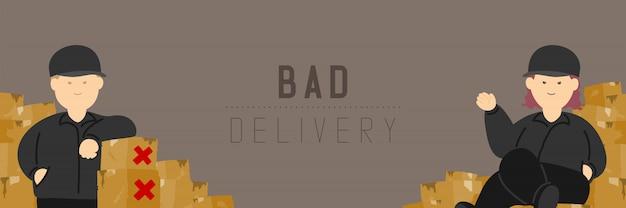Хорошая доставка мужчина и женщина со сломанной коробкой товаров, социальное дистанцирование держать дистанцию к защите вспышка covid-19 остается дома
