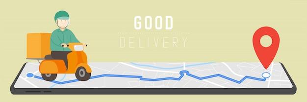 Хороший специалист по доставке с gps-навигатором, социальное дистанцирование covid-19. оставайтесь дома, покупайте онлайн в цифровом маркетинге с помощью приложения для смартфона или рекламного плаката, векторной иллюстрации
