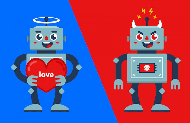 Good and evil robot. angel and demon. flat  characters illustration.