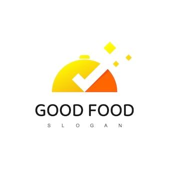 좋은 음식 로고 템플릿, 카페, 레스토랑, 요리 사업을 위한 음식 아이콘 기호
