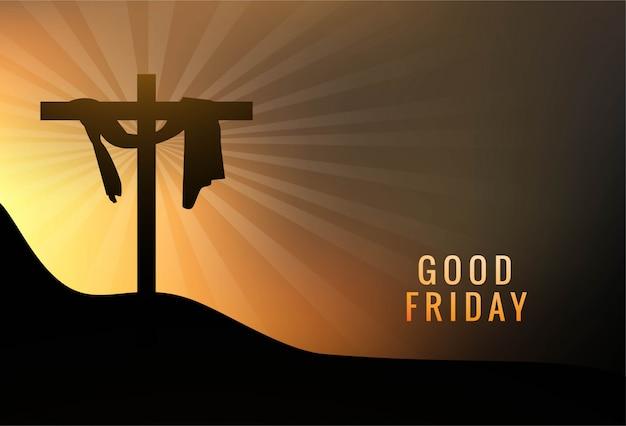 イエスのイラストと聖金曜日背景コンセプトクロス