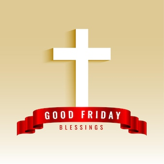 Good friday background with cross and ribbon