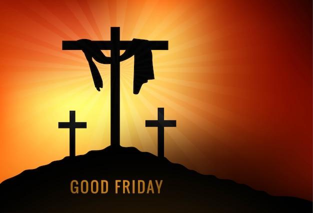 Venerdì santo sfondo con croce e raggi di sole nel cielo