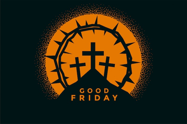Good friday background with crosses and thorn crown