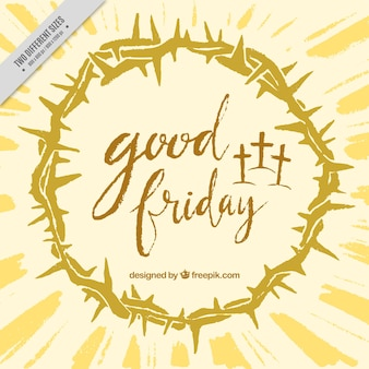 Good friday background with crown of thorns Premium Vector