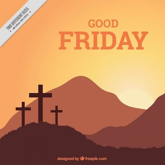 Good friday crosses and landscape background
