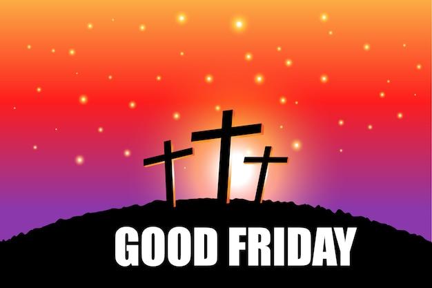 종교와 저녁 장면을 기반으로 좋은 금요일 부활절 장면