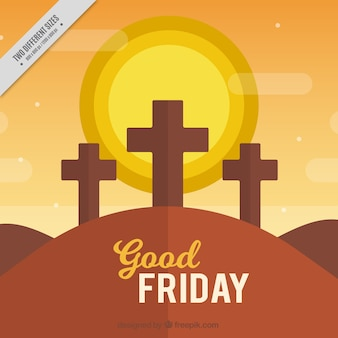 Good friday evening background in flat design