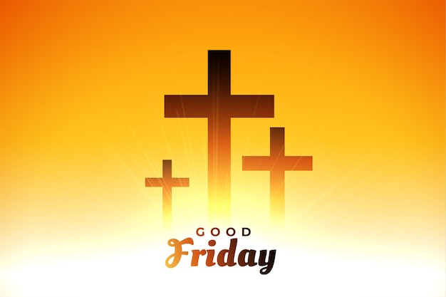 Good friday glowing crosses greeting card