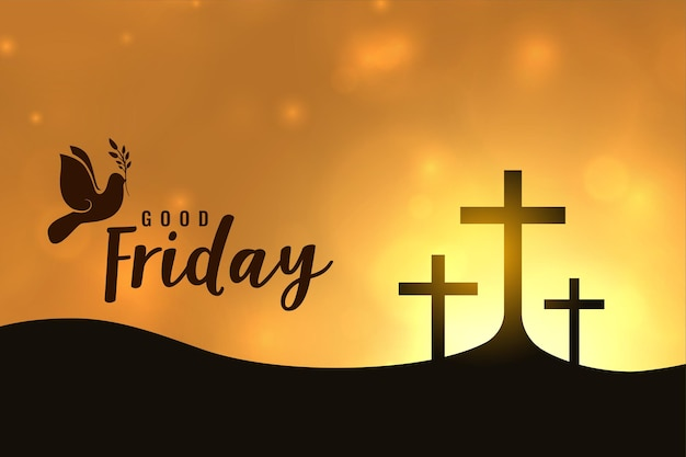 Good friday greeting card, holy week crosses illustration