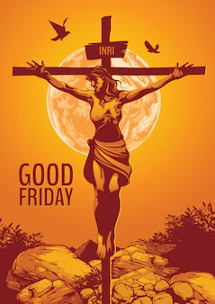 聖金曜日、イエス・キリストのはりつけのイラスト。