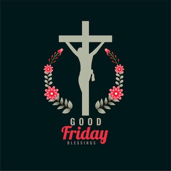 Good friday symbol with cross and flowers