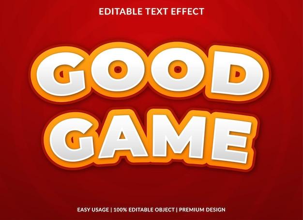 Хорошая игра редактируемый текстовый эффект шаблон премиум векторы